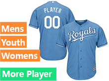 Mens Womens Youth Majestic Kansas City Royals Light Blue Cool Base Current Player Jersey
