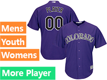 Mens Womens Youth Majestic Colorado Rockies Purple Cool Base Current Player Jersey
