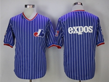 Mens Mlb Montreal Expos Blank Blue (white Stripe) Pullovers Throwbacks Jersey