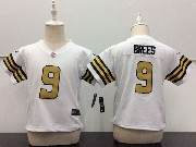 Kids Nfl New Orleans Saints #9 Drew Brees White Color Rush Limited Jersey