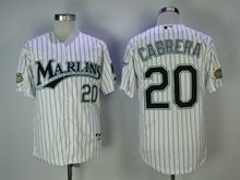 Mens Mlb Miami Marlins #20 Cabrera White Black Stripe Cool Base Jersey