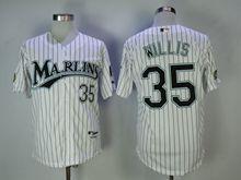 Mens Mlb Miami Marlins #35 Willis White Black Stripe Cool Base Jersey