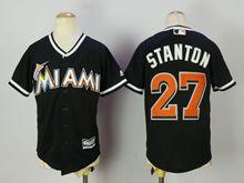Mens Mlb Miami Marlins #27 Giancarlo Stanton Blue Cool Base Jersey