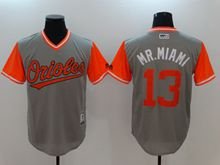 Mens Majestic Baltimore Orioles #13 Manny Machado (mr.miami) Majestic Gray 2017 Players Weekend Authentic Jersey