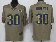 Mens Women Youth Nfl Los Angeles Rams #30 Todd Gurley Ii Green Olive Salute To Service Limited Nike Jersey