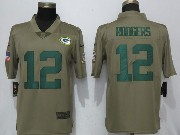 Mens Women Youth Nfl Green Bay Packers #12 Aaron Rodgers Green Olive Salute To Service Limited Nike Jersey