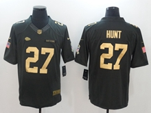 Mens Nfl Kansas City Chiefs #27 Kareem Hunt Black Gold Number Salute To Service Jersey