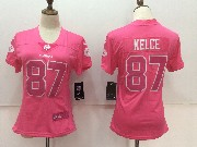 Women Nfl Kansas City Chiefs #87 Travis Kelce Pink Vapor Untouchable Limited Jersey