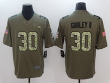Mens Nfl Los Angeles Rams #30 Todd Gurley Ii Green 2017 Olive Salute To Service Limited Camo Number Jersey