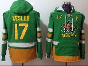 Mens Nhl Anaheim Mighty Ducks #17 Ryan Kesler Green One Front Pocket Hoodie Jersey