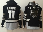 Mens Nhl Los Angeles Kings #11 Anze Kopitar Black One Front Pocket Hoodie Jersey