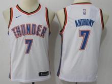 Youth Oklahoma City Thunder #7 Carmelo Anthony White Swingman Nike Jersey