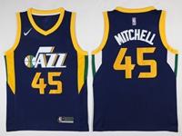 Mens 2017-18 Season Nba Utah Jazz #45 Donovan Mitchell Dark Blue Nike Swingman Jersey