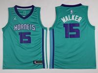 Mens 2017-18 Season Nba Charlotte Hornets #15 Kemba Walker Light Blue Jordan Jersey
