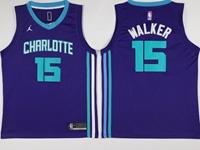 Mens 2017-18 Season Nba Charlotte Hornets #15 Kemba Walker Purple Jordan Jersey