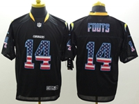 Mens Nfl San Diego Chargers #14 Dan Fouts Usa Black Flag Fashion Elite Jerseys