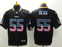 Mens Nfl San Diego Chargers #55 Junior Seau Usa Black Flag Fashion Elite Jerseys