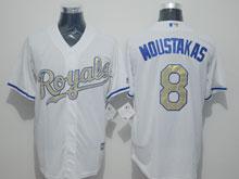 Mens Majestic Kansas City Royals #8 Mike Moustakas White Gold Program Cool Base Jersey