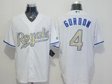Mens Mlb Kansas City Royals #4 Alex Gordon White (royals) Gold Program Flex Base Jersey