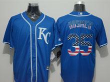 Mens Mlb Kansas City Royals #35 Eric Hosmer Blue (kc) Blue Usa Flag Pinstripe Cool Base Jersey