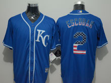 Mens Mlb Kansas City Royals #2 Alcides Escobar Blue (kc) Blue Usa Flag Pinstripe Cool Base Jersey