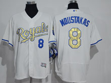 Mens Mlb Kansas City Royals #8 Mike Moustakas White (royals) Gold Program Elite Jersey