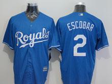 Mens Mlb Kansas City Royals #2 Alcides Escobar (royals) Blue Jersey