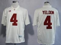 Mens Ncaa Nfl Alabama Crimson #4 T.j Yeldon White Diamond Quest College Football Jersey