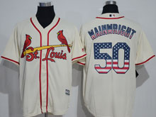 Mens Majestic St.louis Cardinals #50 Adam Wainwright Cream Usa Flag Jersey
