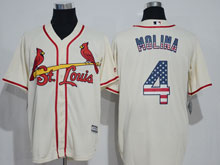 Mens Majestic St.louis Cardinals #4 Yadier Molina Cream Usa Flag Jersey