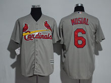 Mens Majestic St.louis Cardinals #6 Stan Musial Gray Jersey