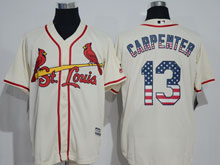 Mens Majestic St.louis Cardinals #13 Matt Carpenter Cream Usa Flag Jersey