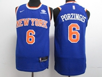 New Mens Nba New York Knicks #6 Kristaps Porzingis Blue Swingman Nike Jersey