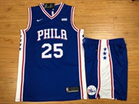 Mens Nba Philadelphia 76ers #25 Ben Simmons Blue Nike Suit Jersey