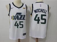 Mens 2017-18 Season Nba Utah Jazz #45 Donovan Mitchell White Nike Swingman Jersey