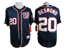 Mens Majestic Washington Nationals #20 Desmond Navy Blue Cool Base Jersey