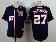 Mens Majestic Washington Nationals #27 Jordan Zimmermann Blue Cool Base Jersey