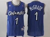 New Mens Nba Orlando Magic #1 Mcgrady Blue Stripe Adidas Swingman Hardwood Classics Mesh Jersey
