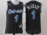 New Mens Nba Orlando Magic #1 Mcgrady Black Stripe Swingman Hardwood Classics Mesh Jersey