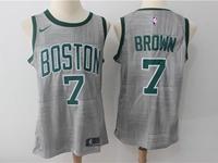 Mens Nba Boston Celtics #7 Jaylen Brown Gray Nike City Edition Swingman Jersey