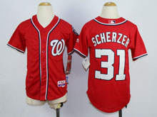 Women Mlb Washington Nationals #31 Max Scherzer Red Cool Base Jersey