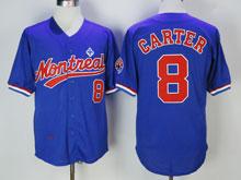Mens Mlb Montreal Expos #8 Carter ( Montreal ) Blue Throwbacks Jersey