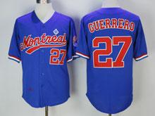 Mens Mlb Montreal Expos #27 Vladimir Guerrero ( Montreal ) Blue Throwbacks Jersey
