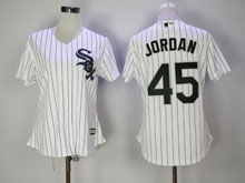 Women Mlb Chicago White Sox #45 Michael Jordan White Stripe Cool Base Jersey