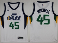 New Mens 2017-18 Season Nba Utah Jazz #45 Donovan Mitchell White Nike Swingman Jersey