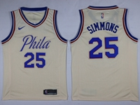 Mens 2017-18 Season Nba Philadelphia 76ers #25 Ben Simmons Cream City Edition Swingman Nike Jersey