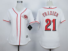 Women Mlb Cincinnati Reds #21 Todd Frazier White Cool Base Jersey