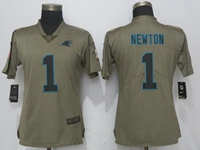 Women Nfl Carolina Panthers #1 Cam Newton Green Olive Salute To Service Elite Jersey