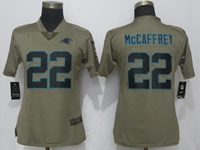 Women Nfl Carolina Panthers #22 Christian Mccaffrey Green Olive Salute To Service Elite Jersey