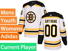Mens Women Youth Adidas Boston Bruins White Away Current Player Jersey